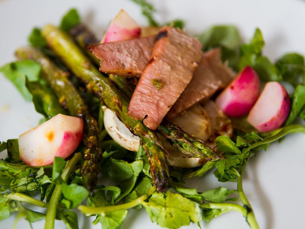 Lemongrass Glazed Tuna On Grilled Asparagus And Turnip Salad