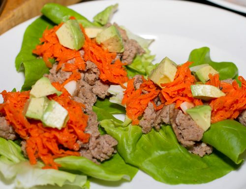 Thai Ground Chicken & Carrot Lettuce Wraps