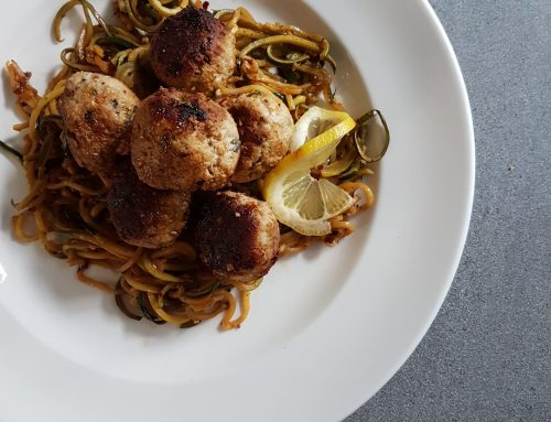 Garlicky Meatballs with Low Carb Lemon Zucchini Noodles