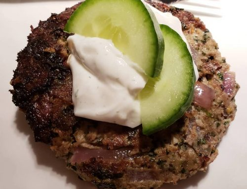 High Protein Greek Turkey Burgers with Low Carb Greek Yogurt Sauce